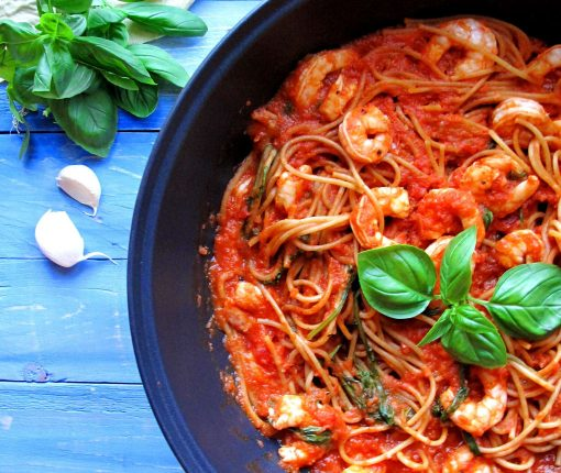 Fresh Basil King Prawn Spaghetti