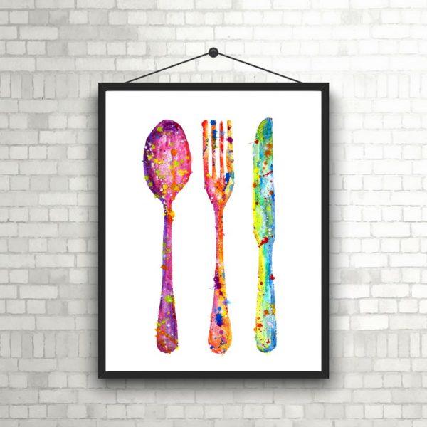 kitchen watercolour art print