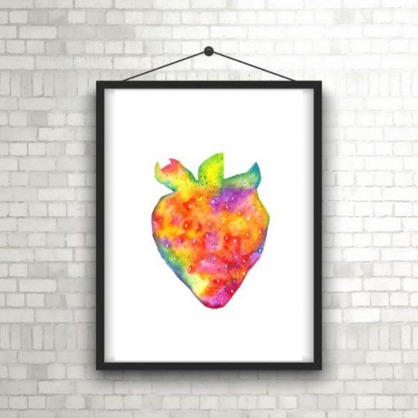 strawberry watercolour art print