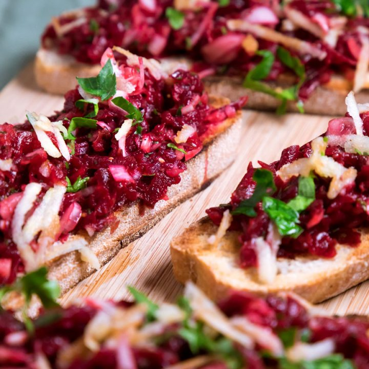 Beet Bruschetta with Sweet Zest & Peppery Infusions